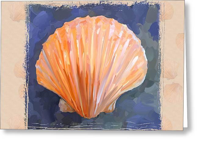 Seashell Art Greeting Cards - SeaShell I Grunge with Border Greeting Card by Jai Johnson