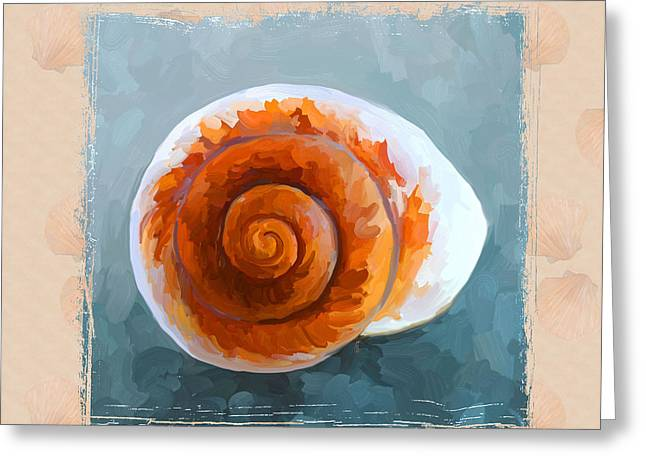 Seashell II Grunge With Border Greeting Card by Jai Johnson
