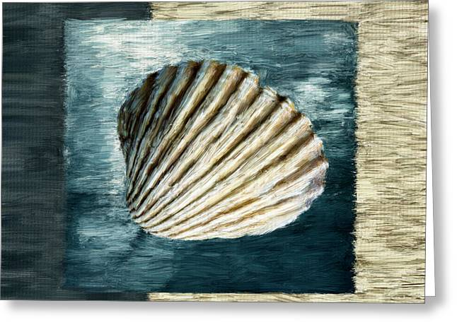 Light Aqua Greeting Cards - Seashell Souvenir Greeting Card by Lourry Legarde