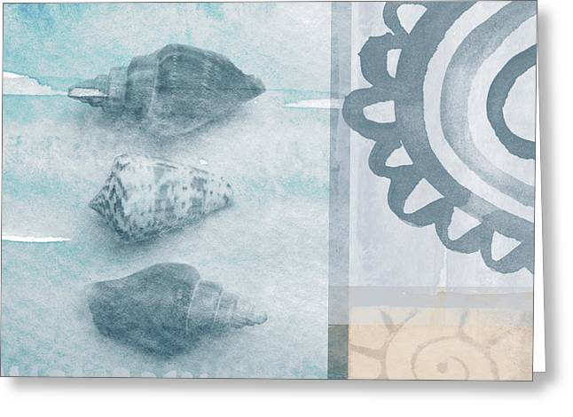 Relaxing Mixed Media Greeting Cards - Seashells 2 Greeting Card by Linda Woods