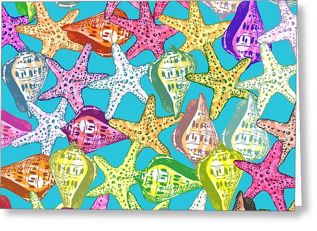 Seastar Digital Art Greeting Cards - Seashells and sea stars Greeting Card by Gaspar Avila