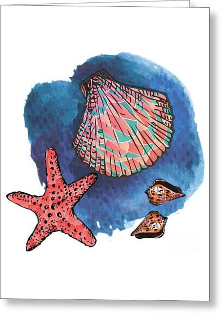 Sea Shell Digital Art Greeting Cards - Seashells and starfish Greeting Card by Gaspar Avila