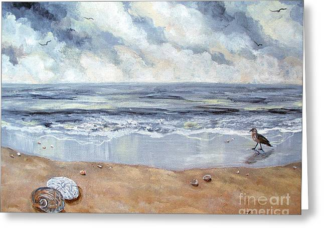 Grey Birds Greeting Cards - Seashells in the Gray Dawn Greeting Card by Laura Iverson