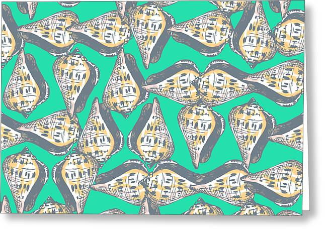 Shell Pattern Greeting Cards - Seashells pattern Greeting Card by Gaspar Avila