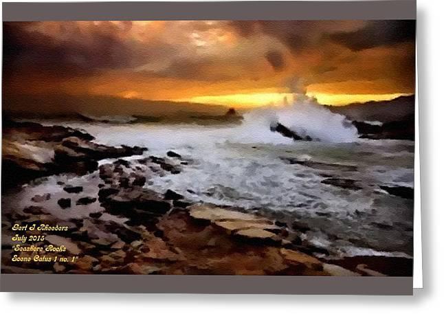 Abstract Digital Pastels Greeting Cards - Seashore Rocks Scene Catus 1 no. 2 H A Greeting Card by Gert J Rheeders