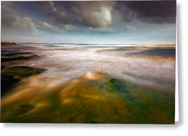 Abstractions Greeting Cards - Seaside Abstraction Greeting Card by Piotr Krol (bax)