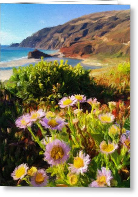 Big Sur Beach Greeting Cards - Seaside Daisy Greeting Card by Jonathan Nguyen