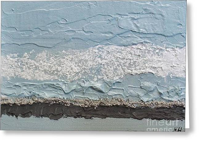 Dark Gray Blue Greeting Cards - Seaside Foam Greeting Card by Marsha Heiken