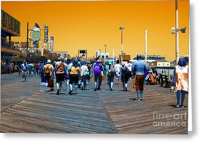 Seaside Heights Photographs Greeting Cards - Seaside Heights Boardwalk Pop Art Greeting Card by John Rizzuto