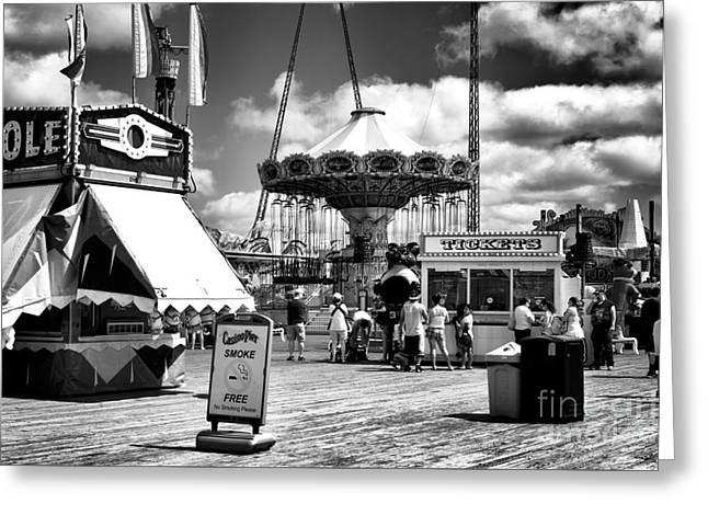 Casino Pier Greeting Cards - Seaside Heights Casino Pier mono Greeting Card by John Rizzuto