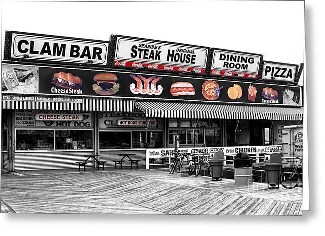 Seaside Heights Clam Bar Fusion Greeting Card by John Rizzuto