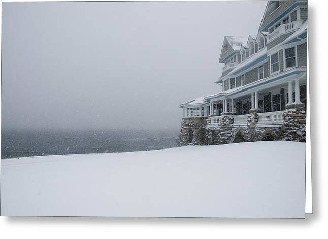 Groton Greeting Cards - Seaside Home During A Snow Storm Greeting Card by Todd Gipstein