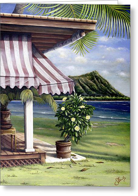 Locations Paintings Greeting Cards - Seaside Hotel Greeting Card by Sandra Blazel - Printscapes