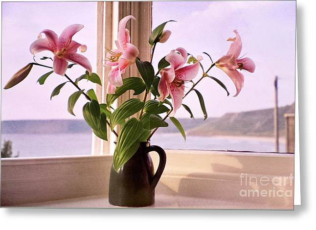 Water Jug Greeting Cards - Seaside Lilies Greeting Card by Terri  Waters