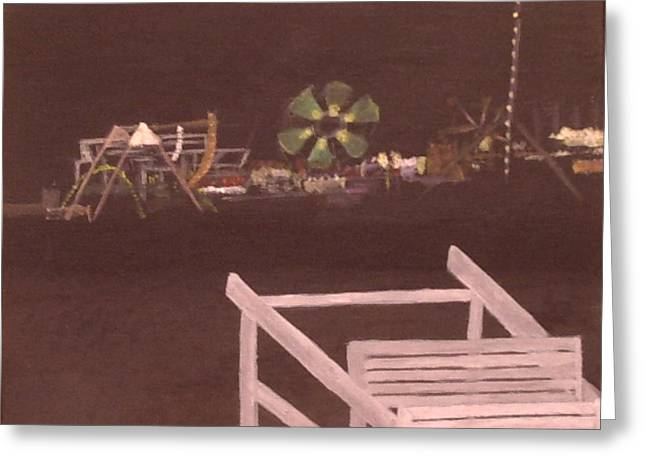 Seaside Heights Paintings Greeting Cards - Seaside Night Greeting Card by William Riley