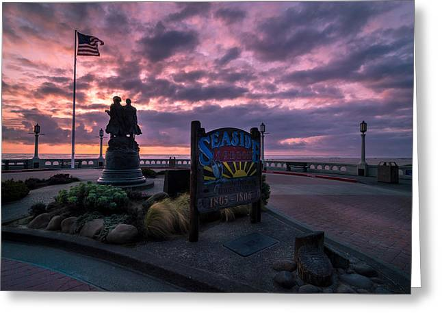 Adventure Greeting Cards - Seaside Oregon Sunset Greeting Card by Michael J Bauer