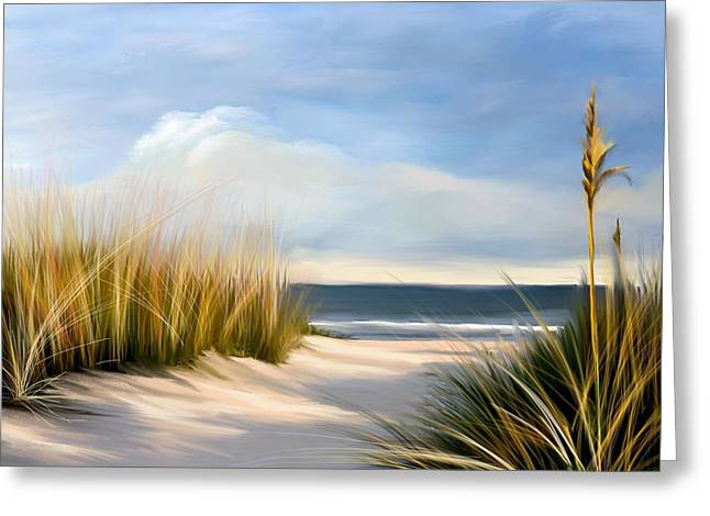 Seaside Path Greeting Card by Anthony Fishburne