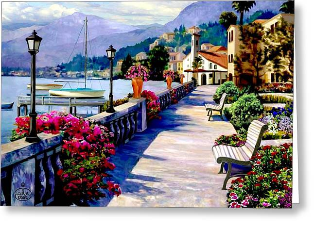 Sailboats In Harbor Greeting Cards - Seaside Pathway Greeting Card by Ronald Chambers