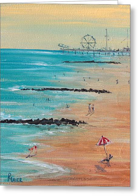 Jersey Shore Paintings Greeting Cards - Seaside Greeting Card by Pete Maier