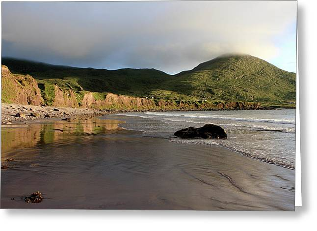 Blue Green Wave Greeting Cards - Seaside Reflections - County Kerry - Ireland Greeting Card by Aidan Moran