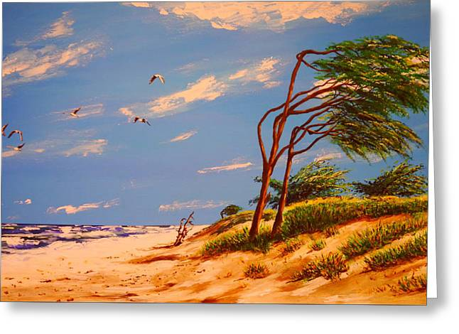 Panoramic Ocean Paintings Greeting Cards - Seaside Solitude Greeting Card by Peter Kraayvanger