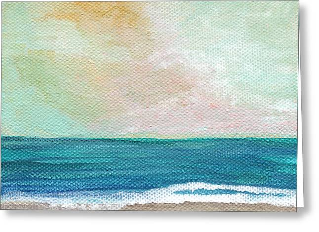 Saltwater Greeting Cards - Seaside Sunset- expressionist landscape Greeting Card by Linda Woods