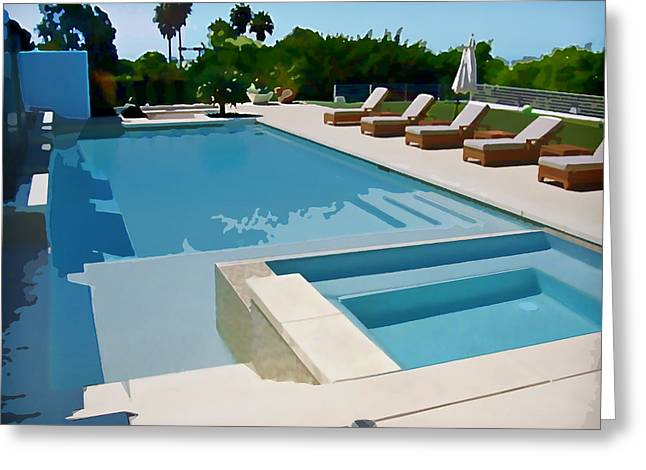 Seaside Swimming Pool As A Silk Screen Image Greeting Card by Elaine Plesser