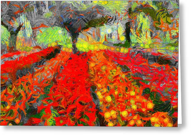 D.w. Paintings Greeting Cards - Season Of Romance - Painting - Spring Greeting Card by Sir Josef  Putsche Social Critic