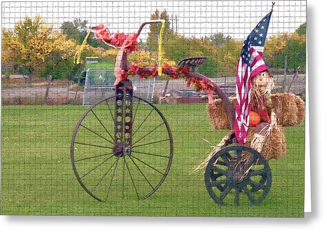 Harvest Time Greeting Cards - Seasonal Antique Tricycle 1 Greeting Card by Steve Ohlsen