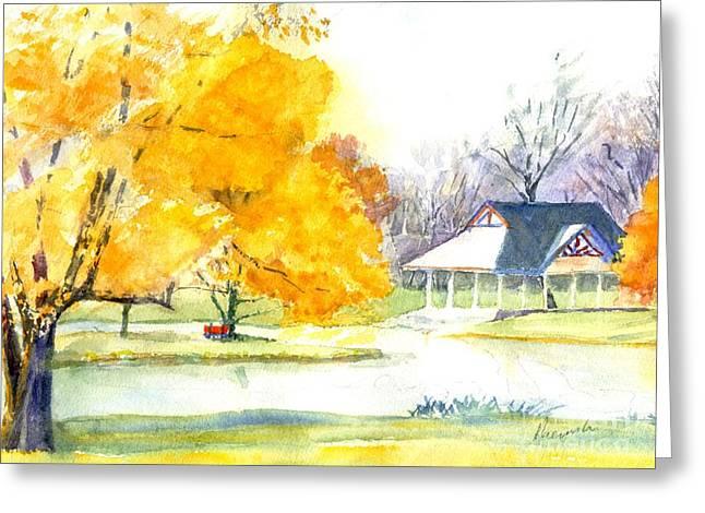 Park Scene Paintings Greeting Cards - Seasons Finale Greeting Card by Robert Haeussler