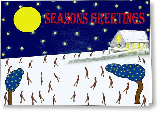 Chapel Mixed Media Greeting Cards - Seasons Greetings 80 Greeting Card by Patrick J Murphy