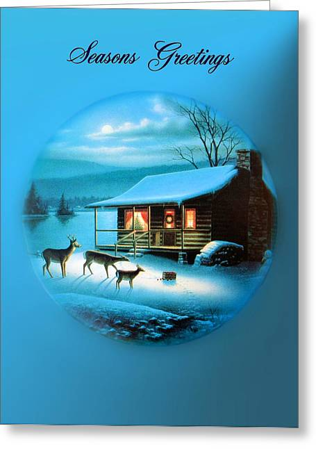 Log Cabins Greeting Cards - Seasons Greetings Greeting Card by Kristin Elmquist