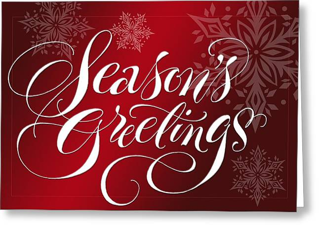 Limited Colors Greeting Cards - Seasons Greetings Lettering Greeting Card by Gillham Studios