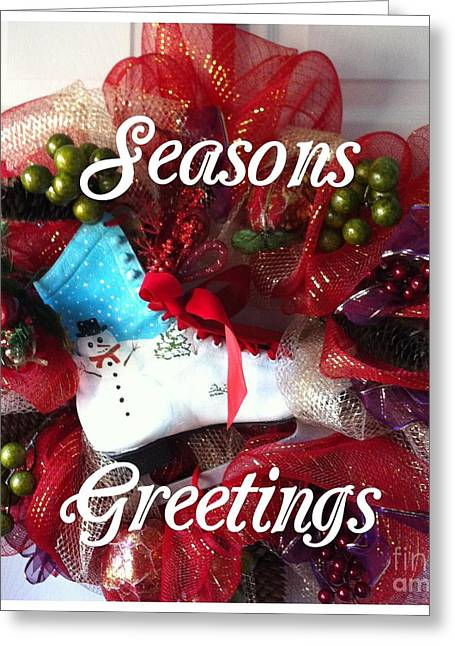 Best Sellers -  - Antique Skates Greeting Cards - Seasons Greetings Old Skate Greeting Card by Barbara Griffin