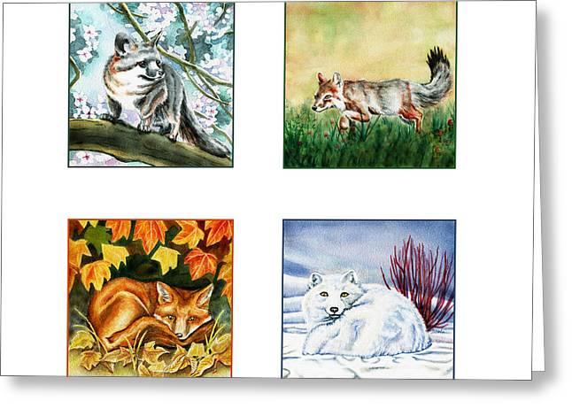 Cycles Paintings Greeting Cards - Seasons of Fox Greeting Card by Antony Galbraith