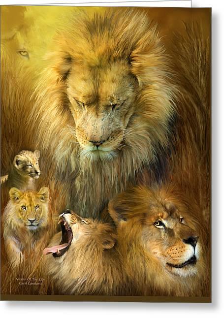Cat Prints Greeting Cards - Seasons Of The Lion Greeting Card by Carol Cavalaris