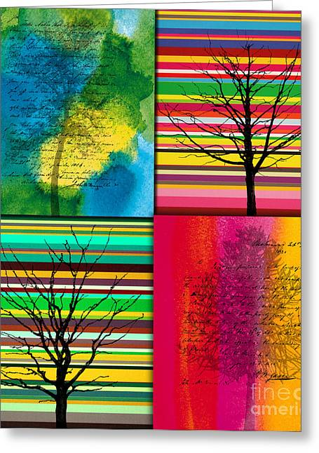 Fruit Tree Art Greeting Cards - Seasons Greeting Card by Ramneek Narang