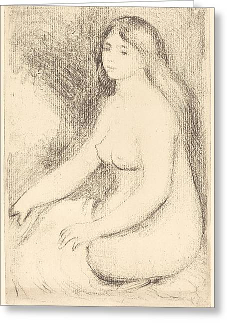 Famous ist Drawings Greeting Cards - Seated Bather - baigneuse Assise Greeting Card by Auguste Renoir