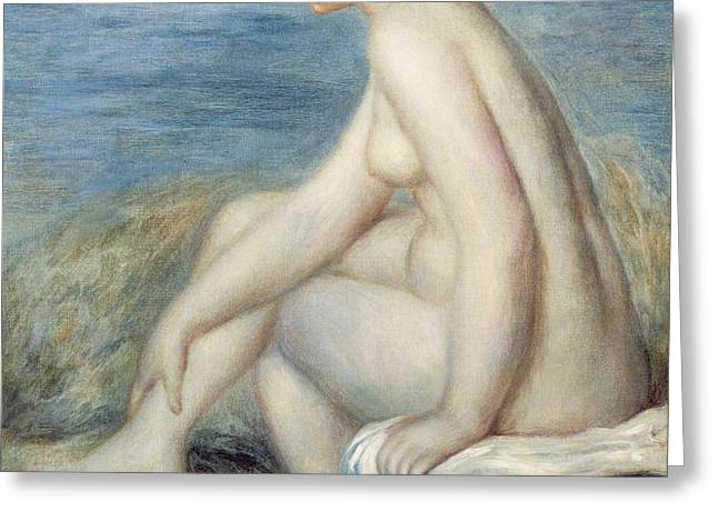 Seated Bather Greeting Card by Renoir
