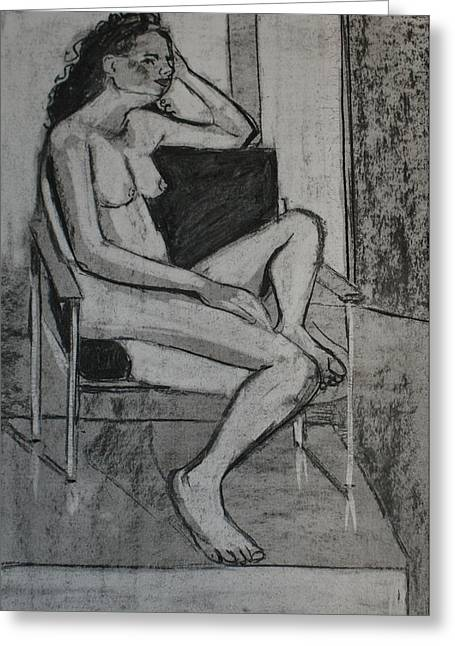 Seated Female Greeting Card by Joanne Claxton