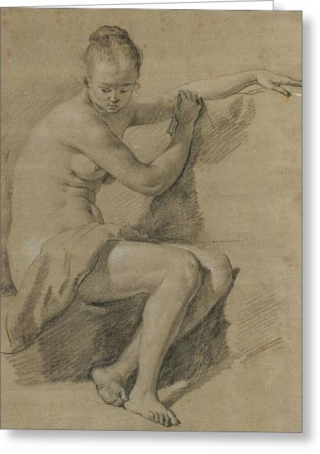 Seated Female Nude Greeting Card by Adriaen van de Velde