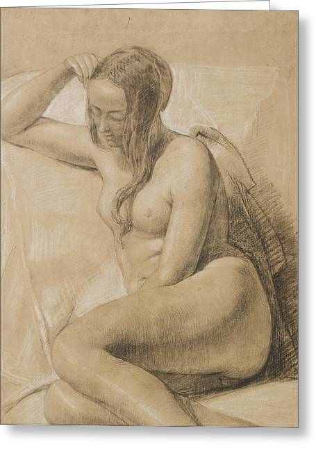 Nudes Drawings Greeting Cards - Seated Female Nude Greeting Card by Sir John Everett Millais