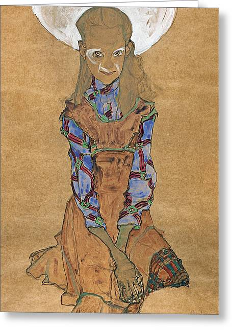 Seated Girl  Greeting Card by Egon Schiele
