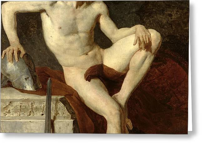 Seated Gladiator Greeting Card by Jean Germain Drouais