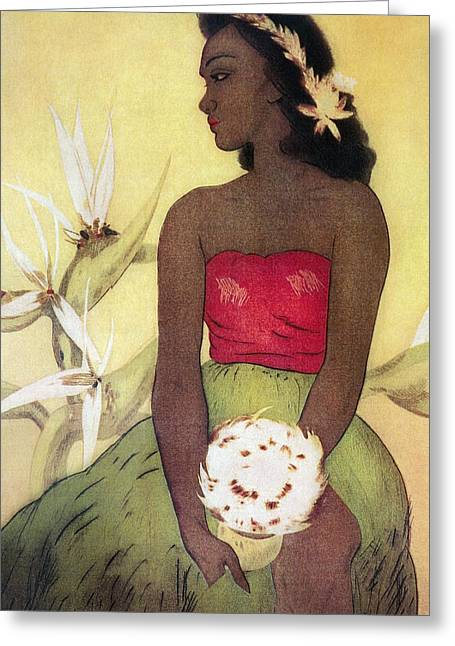 Lei Greeting Cards - Seated Hula Dancer Greeting Card by Hawaiian Legacy Archives - Printscapes