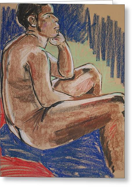 Life Drawing Pastels Greeting Cards - Seated Male Greeting Card by Joanne Claxton