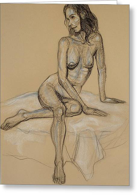 Nude Greeting Cards - Seated Nude 4 Greeting Card by Donelli  DiMaria