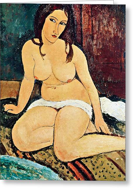 Modigliani; Amedeo (1884-1920) Greeting Cards - Seated Nude Greeting Card by Amedeo Modigliani