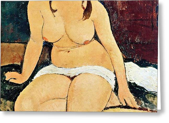 Seated Nude Greeting Card by Amedeo Modigliani