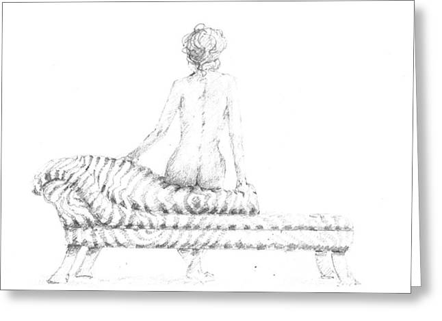 Chaise Drawings Greeting Cards - Seated Nude Greeting Card by Lincoln Seligman